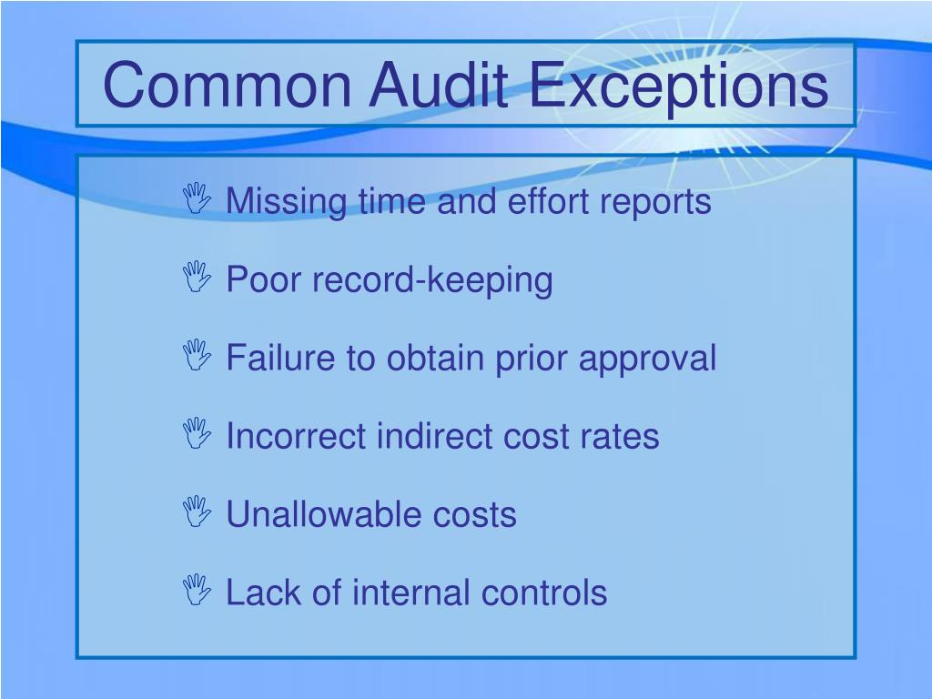 Common Audit Exceptions