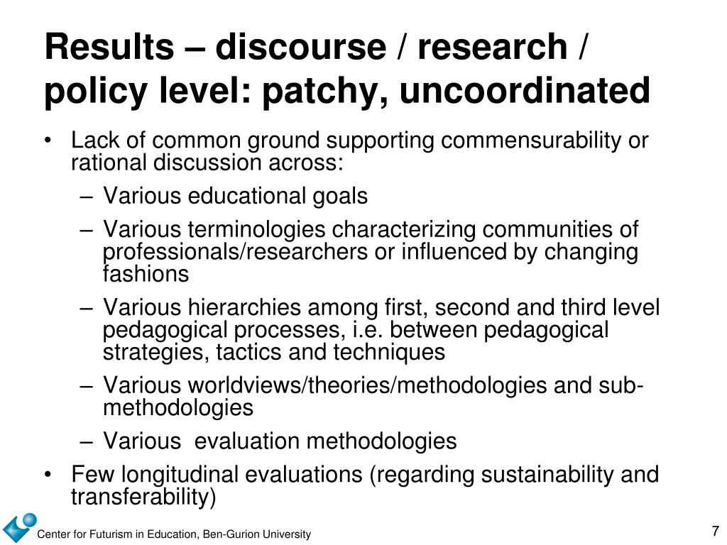 Results – discourse / research / policy level: patchy, uncoordinated