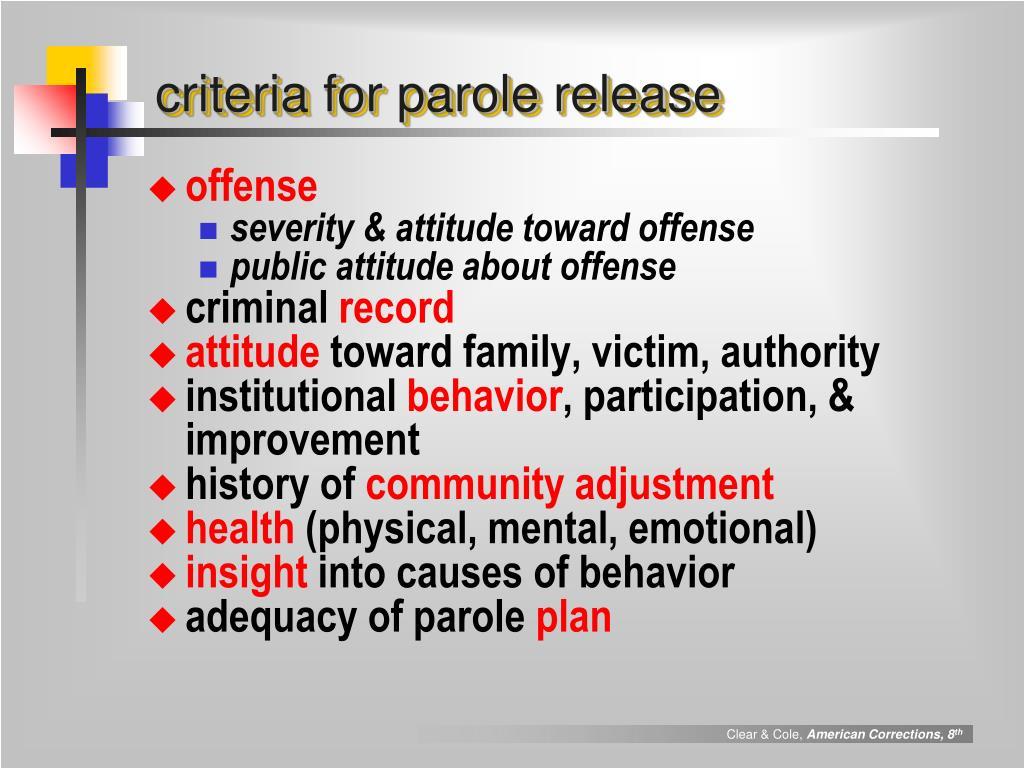 criteria for parole release