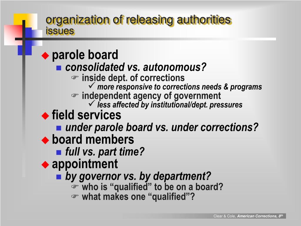 organization of releasing authorities