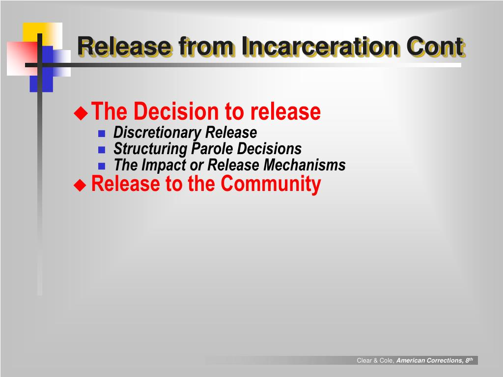 Release from Incarceration Cont