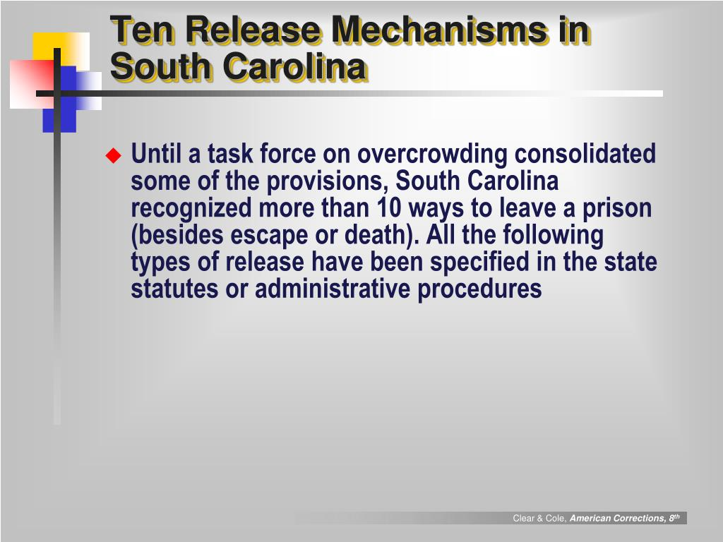 Ten Release Mechanisms in South Carolina
