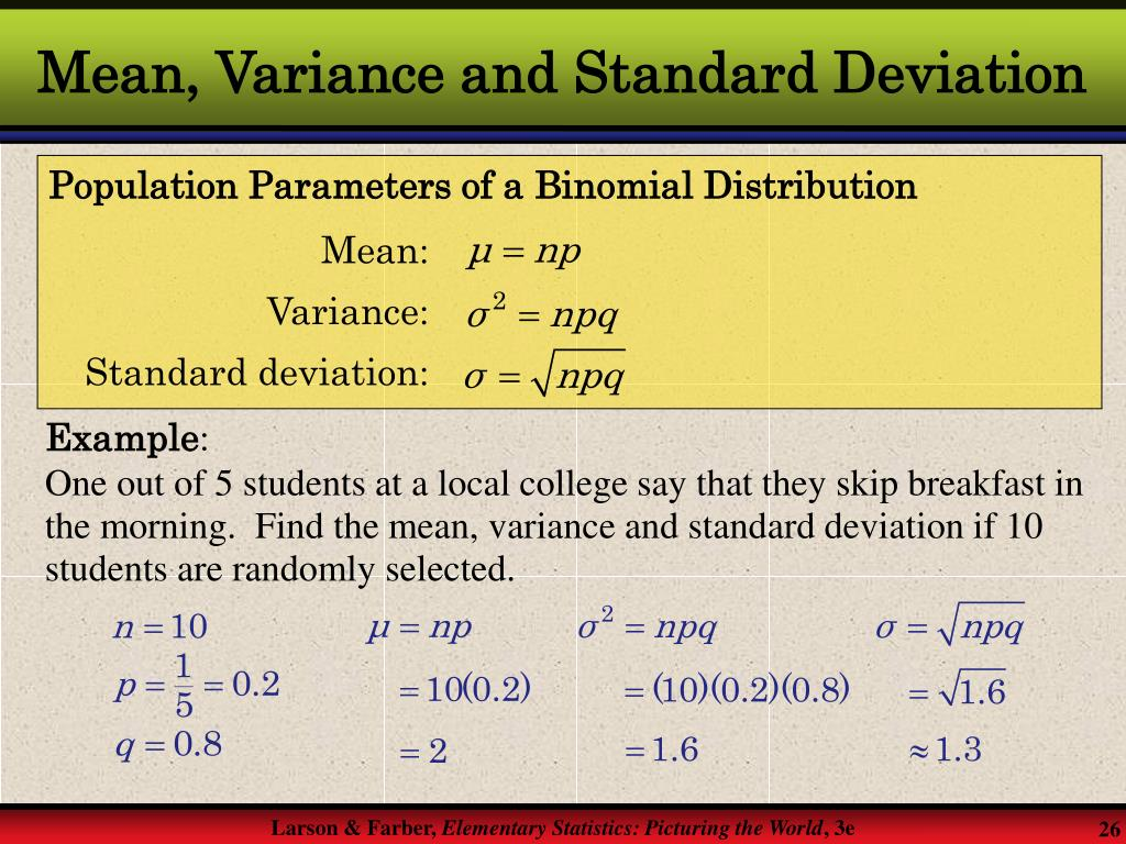 Mean, Variance and Standard Deviation