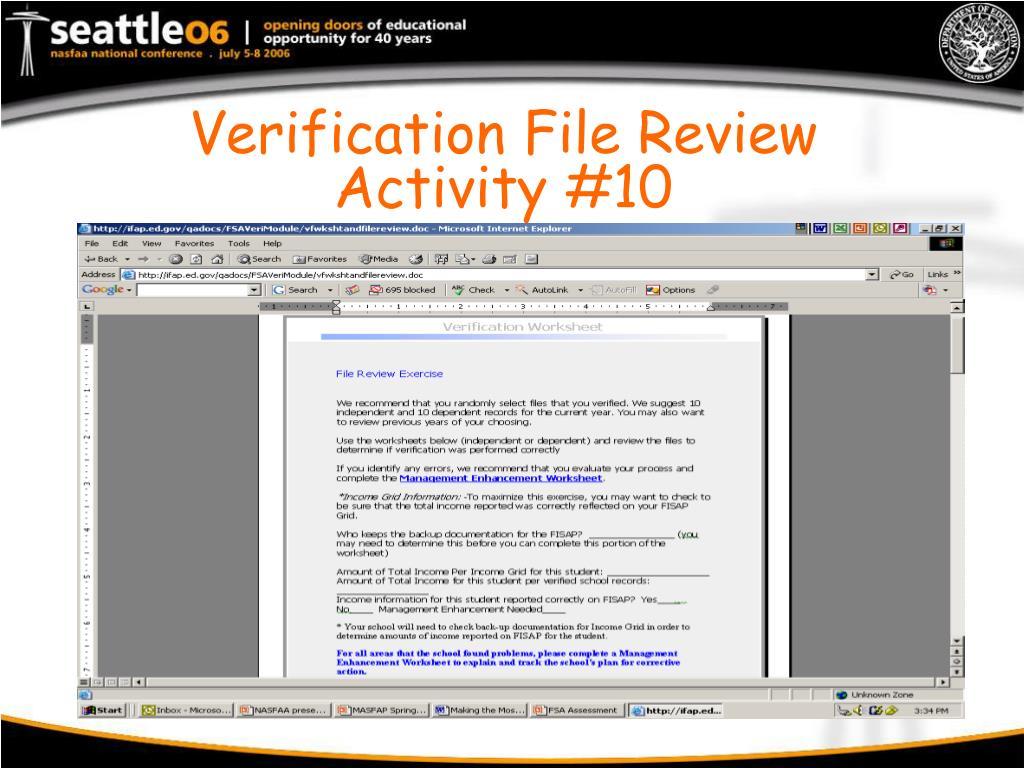Verification File Review Activity #10