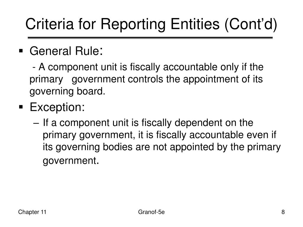 Criteria for Reporting Entities (Cont'd)