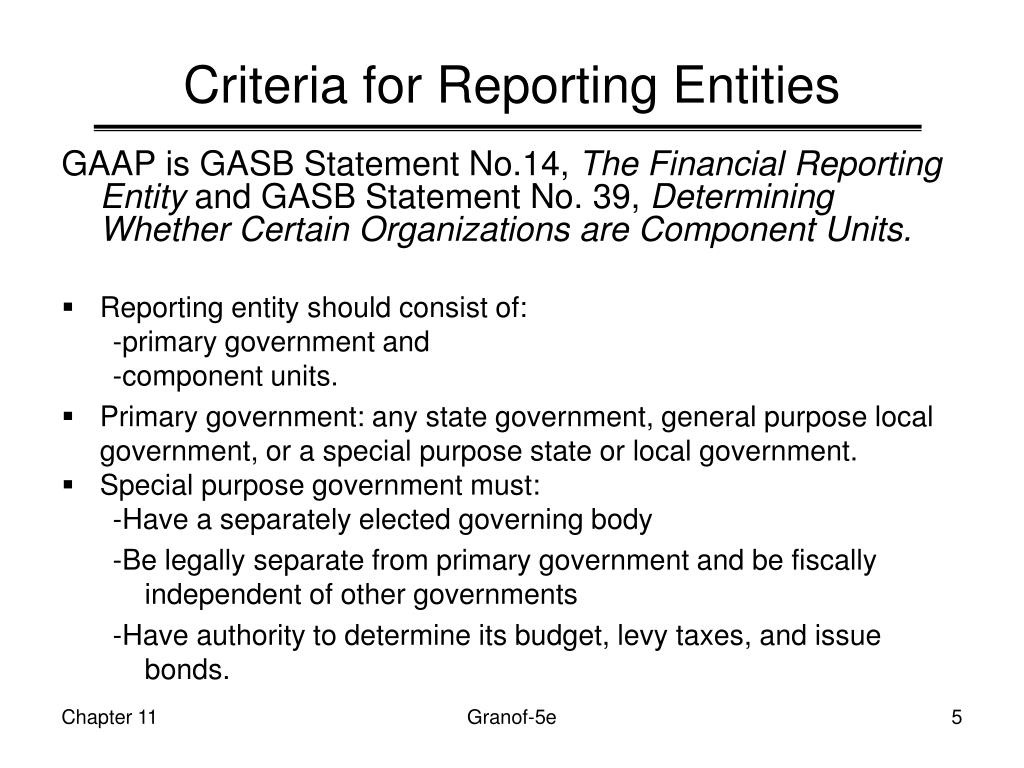 Criteria for Reporting Entities