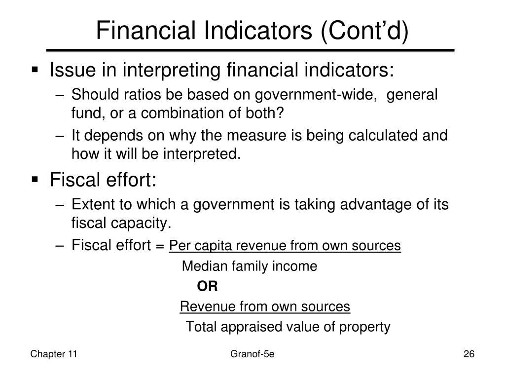 Financial Indicators (Cont'd)