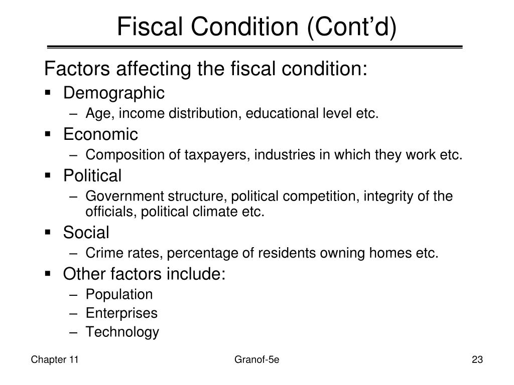 Fiscal Condition (Cont'd)