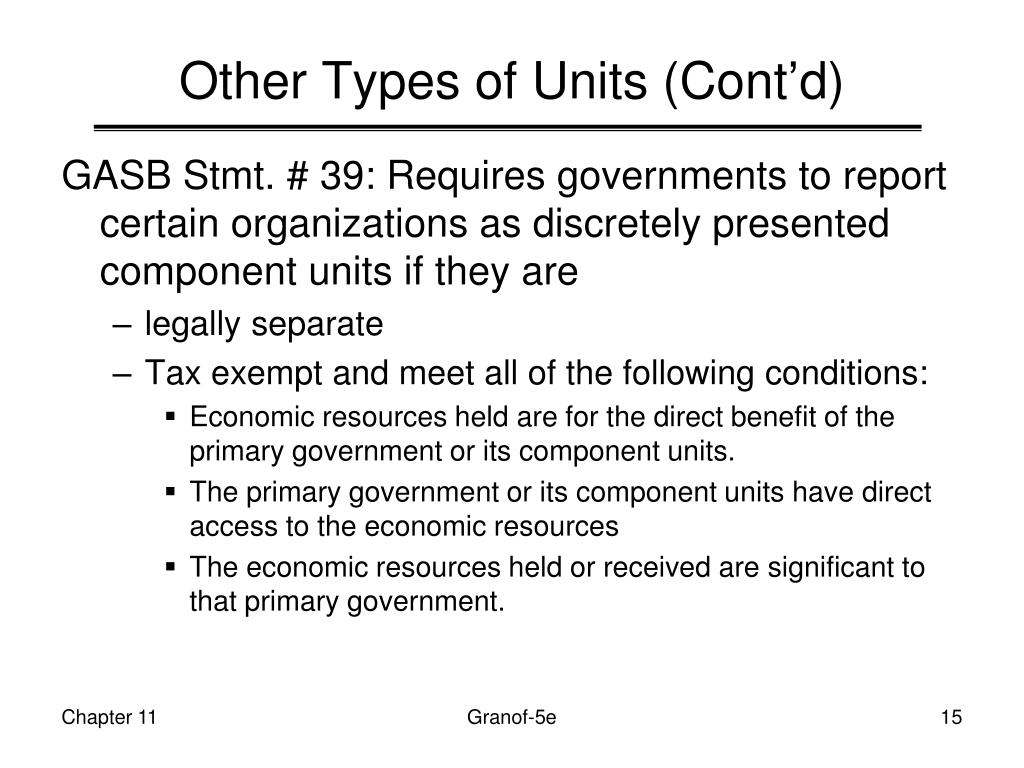 Other Types of Units (Cont'd)