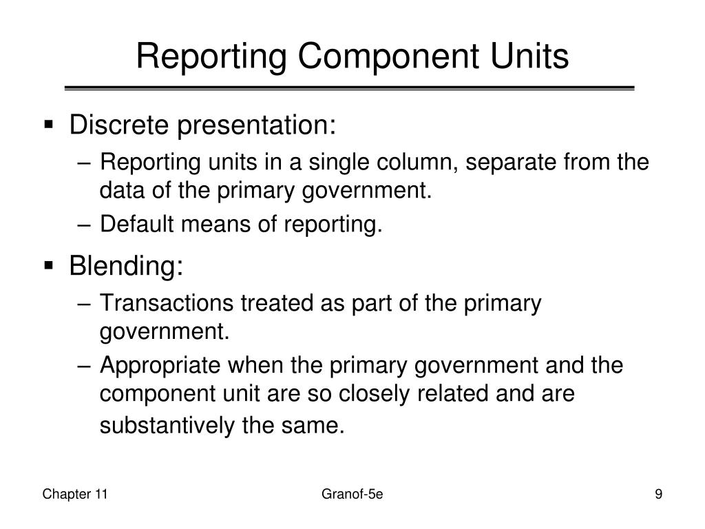 Reporting Component Units