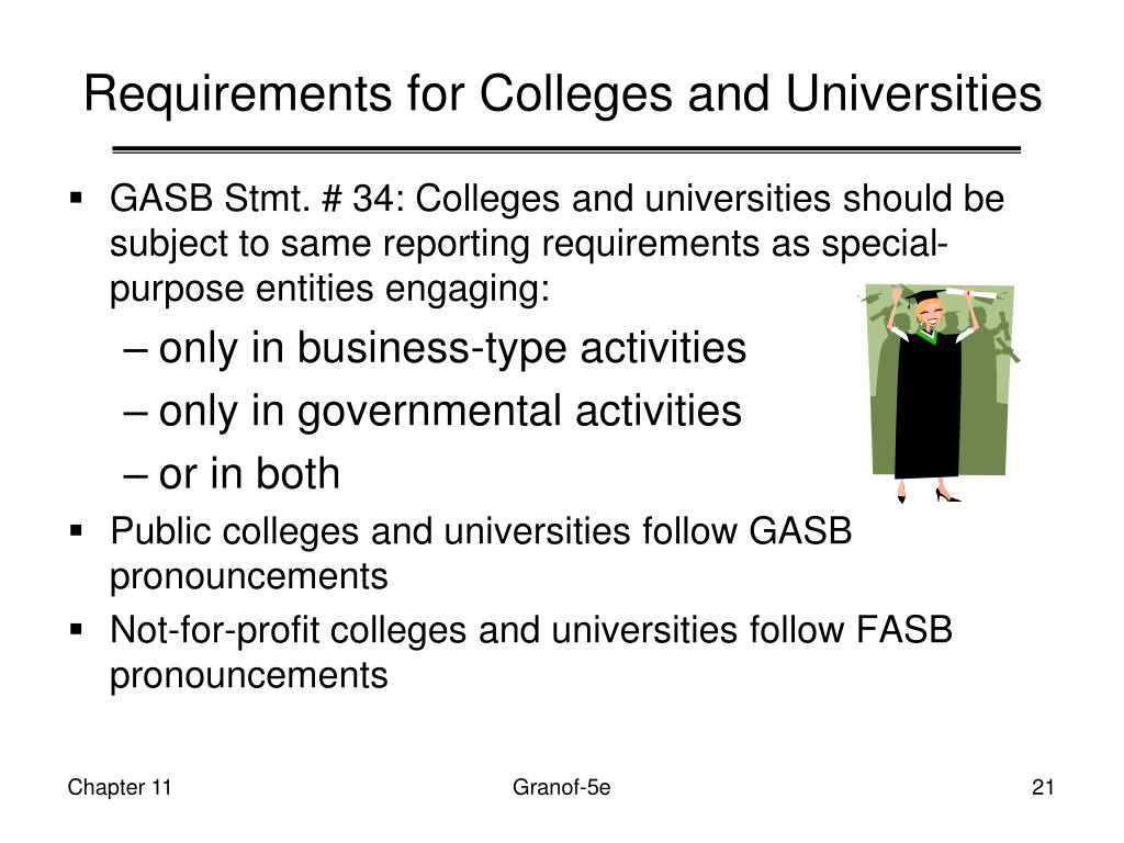 Requirements for Colleges and Universities