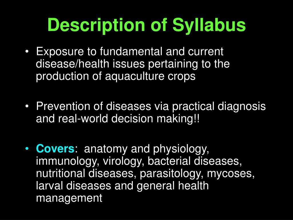 Description of Syllabus