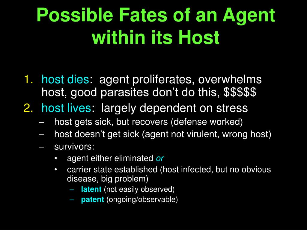 Possible Fates of an Agent within its Host