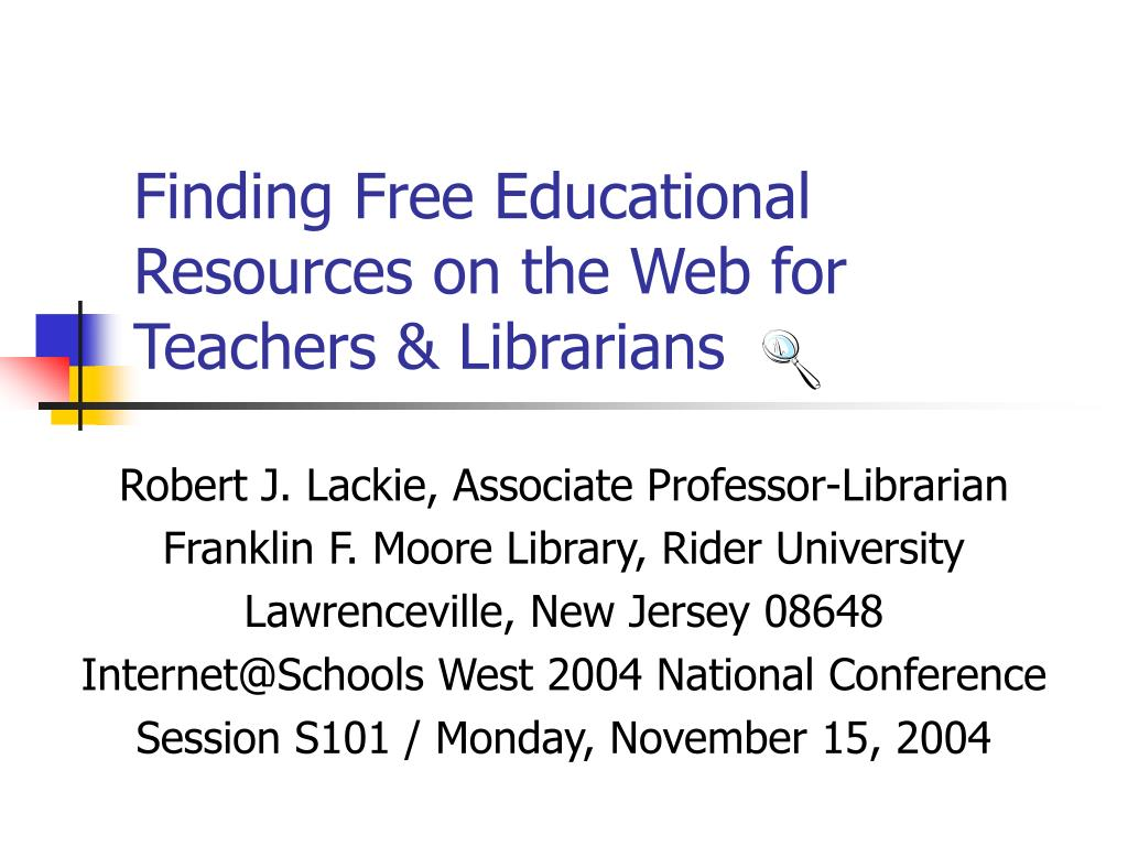 Finding Free Educational Resources on the Web for Teachers & Librarians