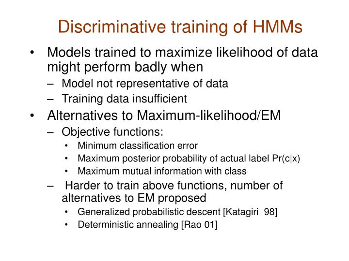 Discriminative training of HMMs