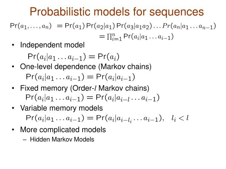 Probabilistic models for sequences