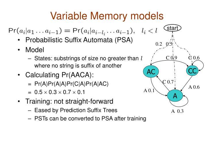 Variable Memory models