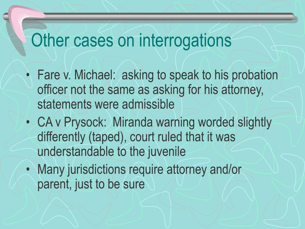 Other cases on interrogations