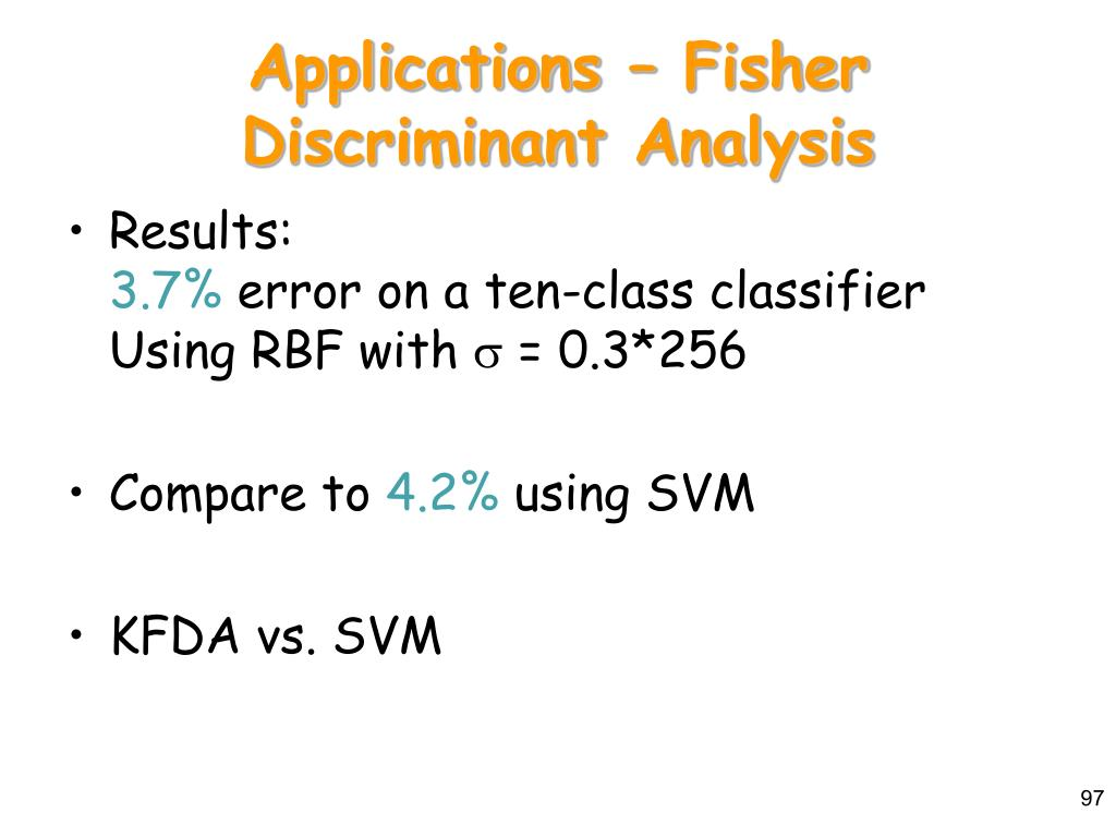 Applications – Fisher Discriminant Analysis