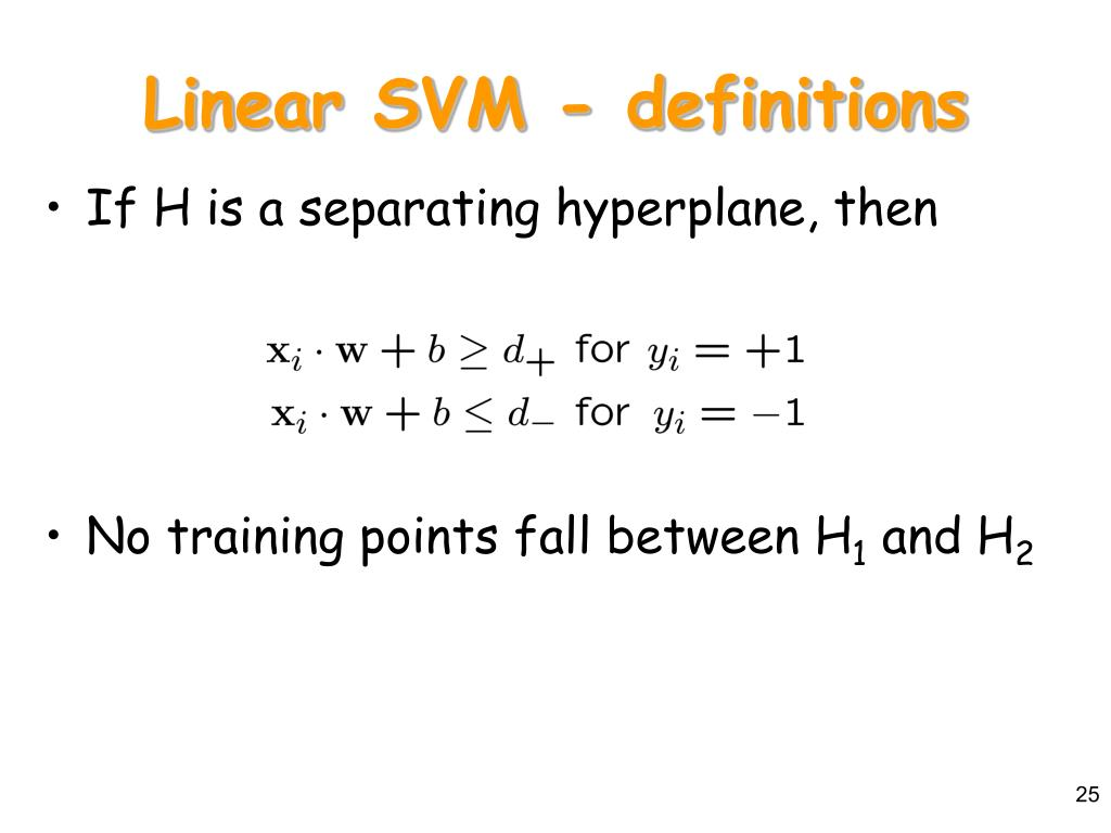 Linear SVM - definitions