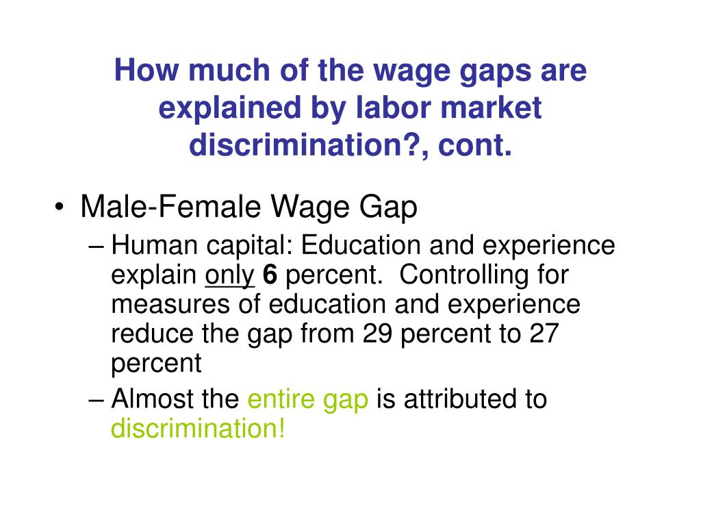 How much of the wage gaps are explained by labor market discrimination?, cont.