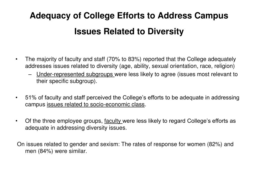 Adequacy of College Efforts to Address Campus Issues Related to Diversity