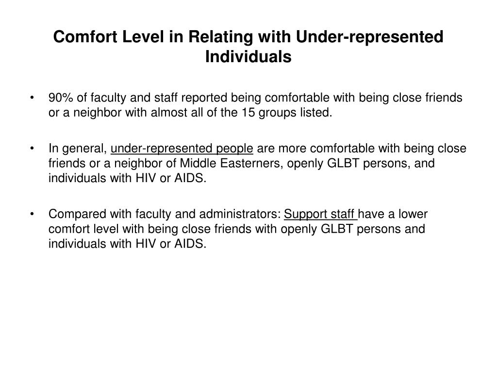 Comfort Level in Relating with Under-represented Individuals