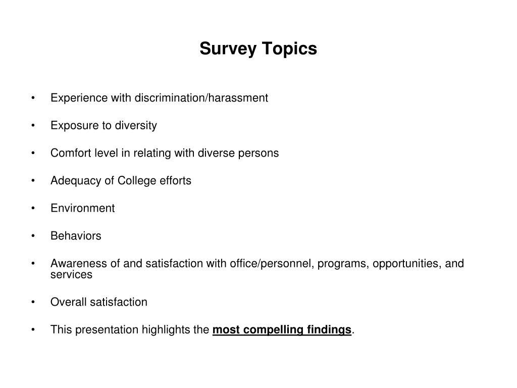 Survey Topics