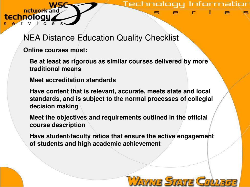 NEA Distance Education Quality Checklist