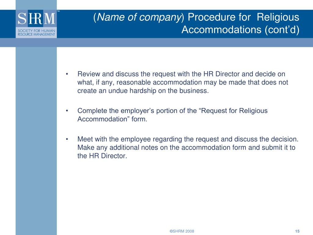 religious accommodation Additional policies and procedures affecting all faculty and staff can be found on religious accommodations cornell university reserves the right to amend.