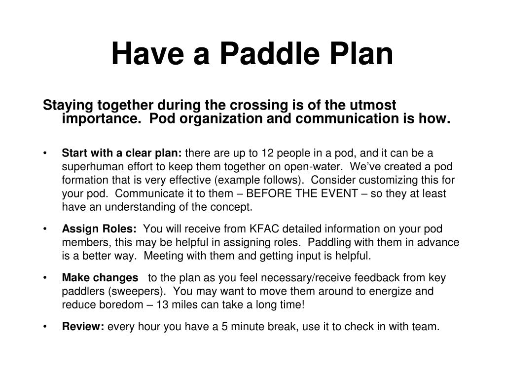Have a Paddle Plan