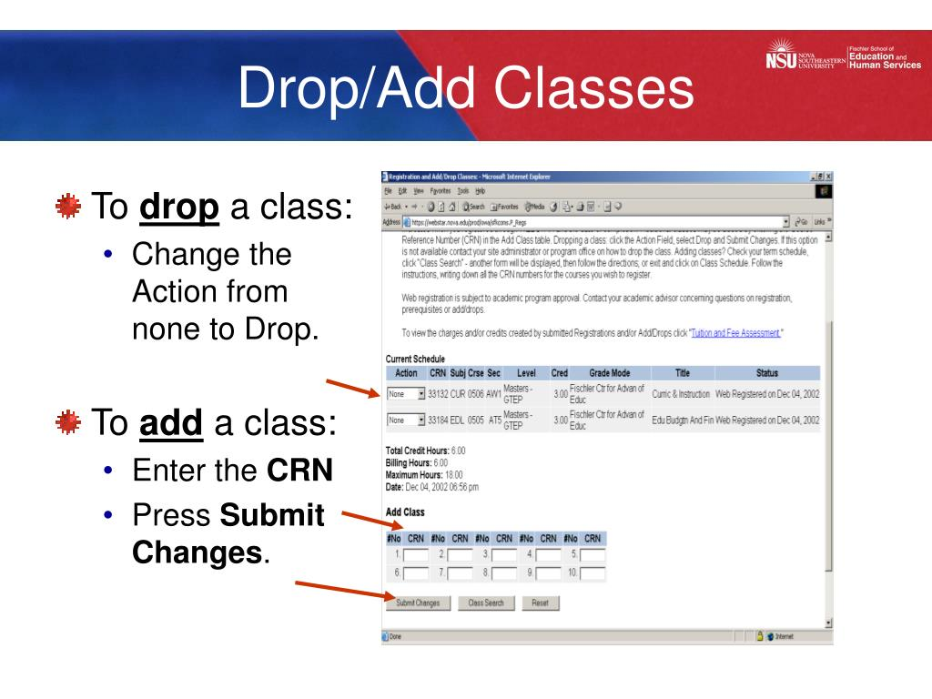 Drop/Add Classes