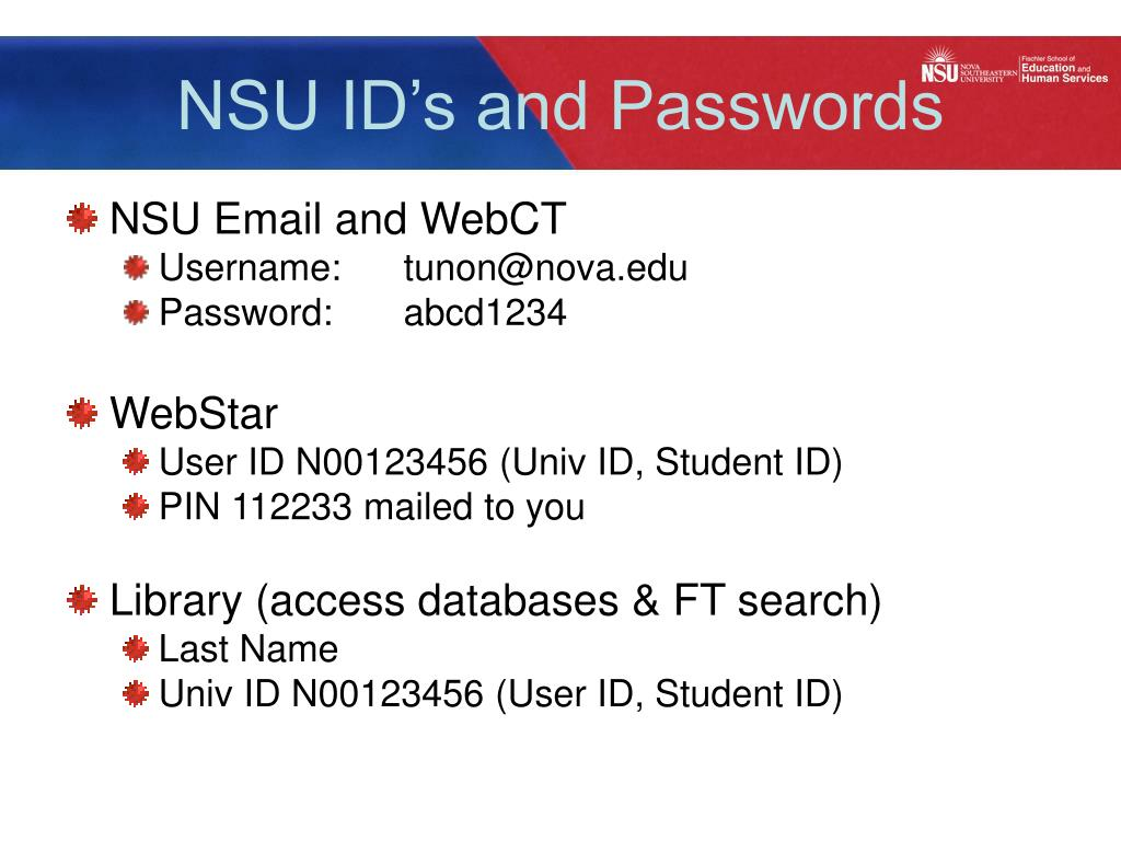 NSU ID's and Passwords