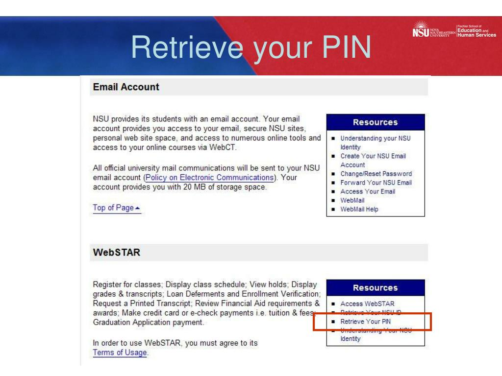 Retrieve your PIN