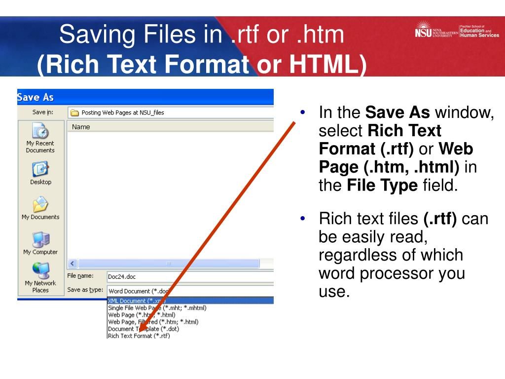 Saving Files in .rtf or .htm