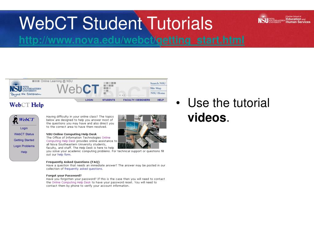 WebCT Student Tutorials