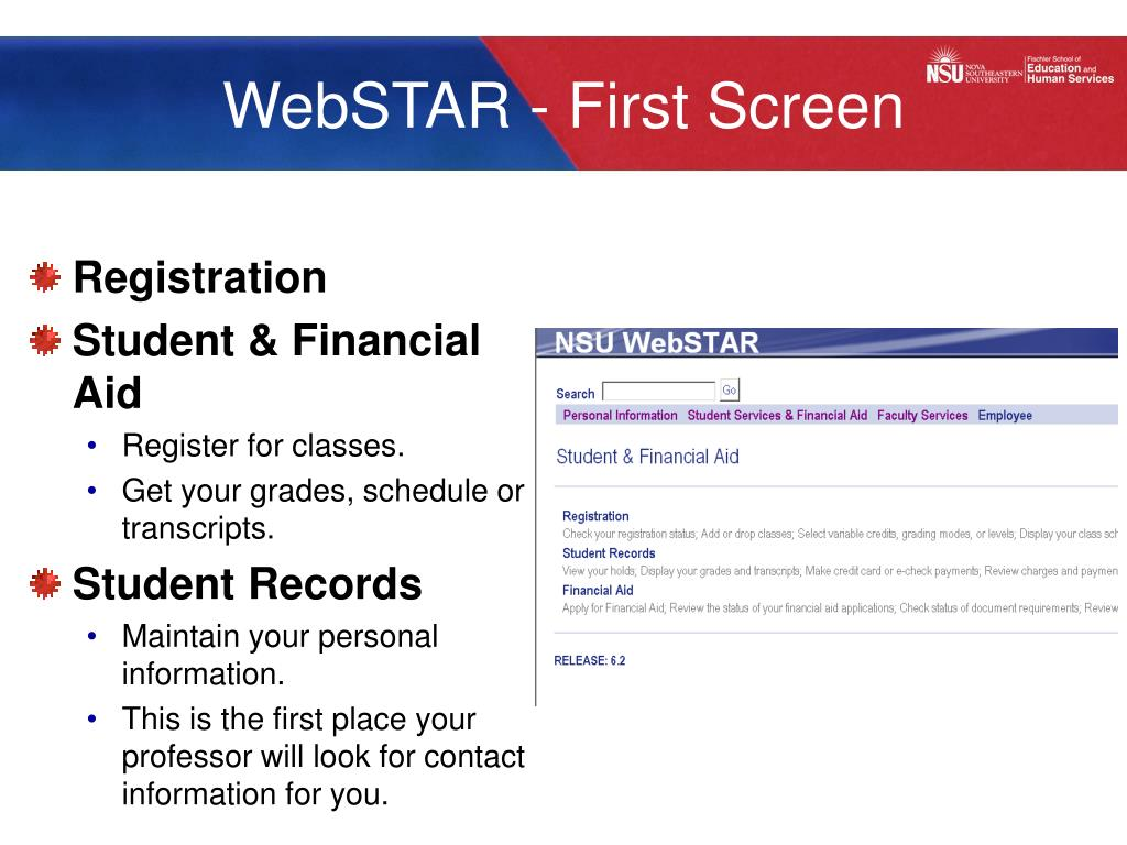 WebSTAR - First Screen