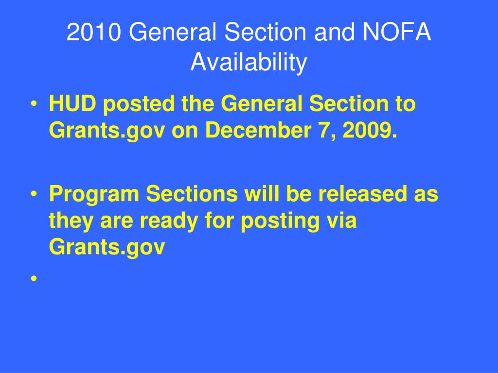 2010 General Section and NOFA Availability