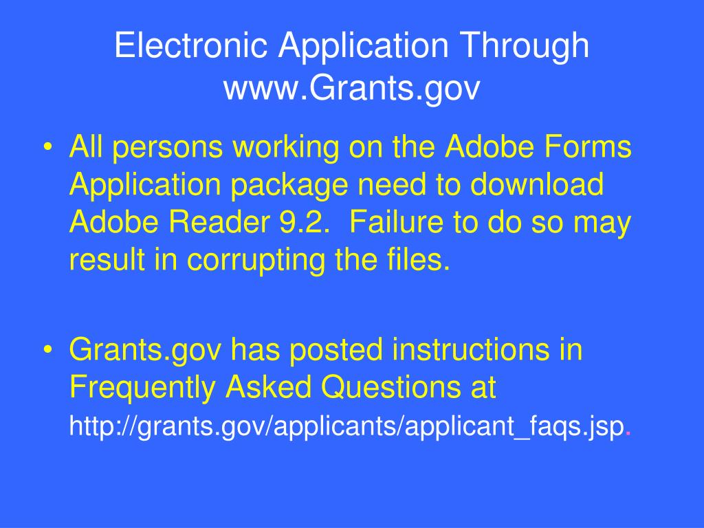 Electronic Application Through www.Grants.gov