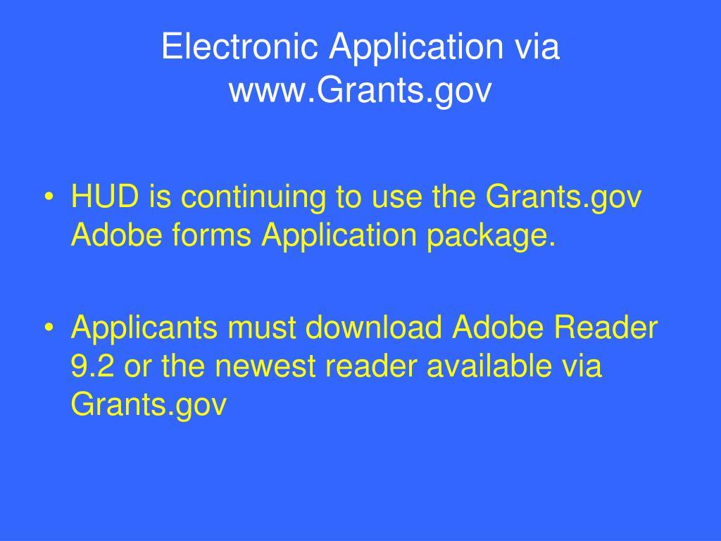 Electronic Application via www.Grants.gov