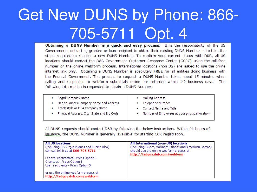 Get New DUNS by Phone: 866-705-5711  Opt. 4