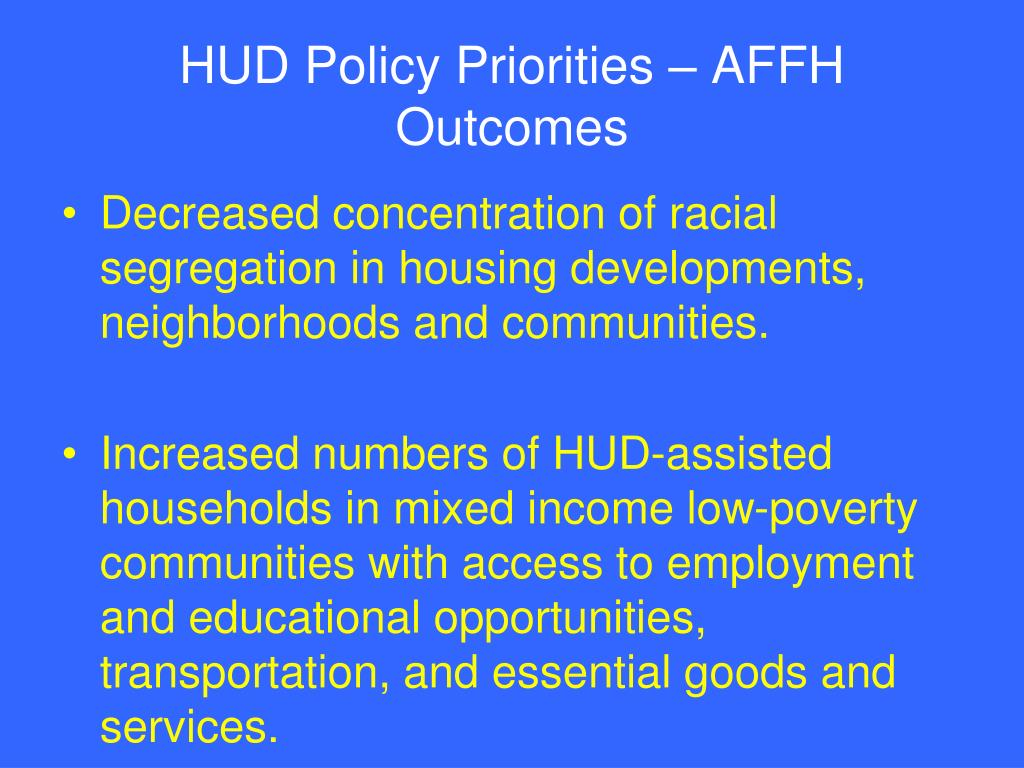HUD Policy Priorities – AFFH Outcomes