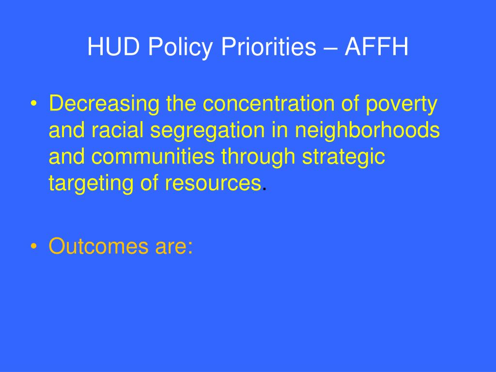 HUD Policy Priorities – AFFH