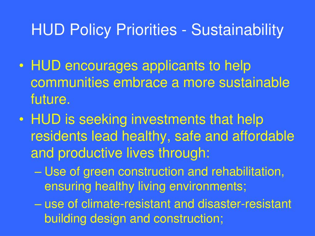 HUD Policy Priorities - Sustainability