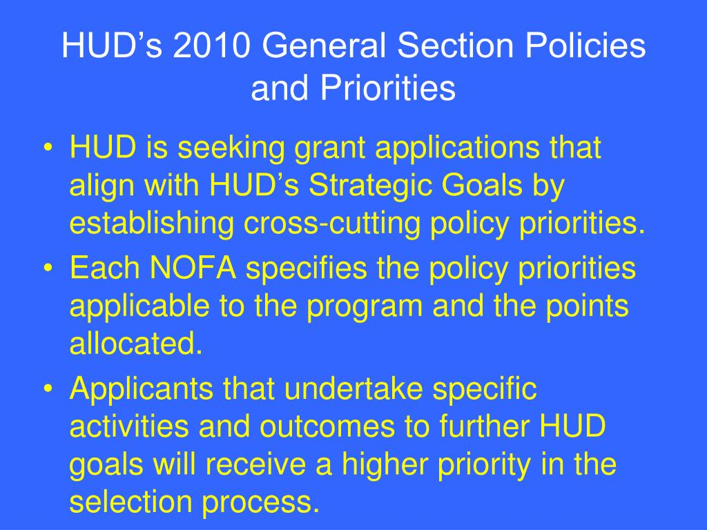 HUD's 2010 General Section Policies and Priorities