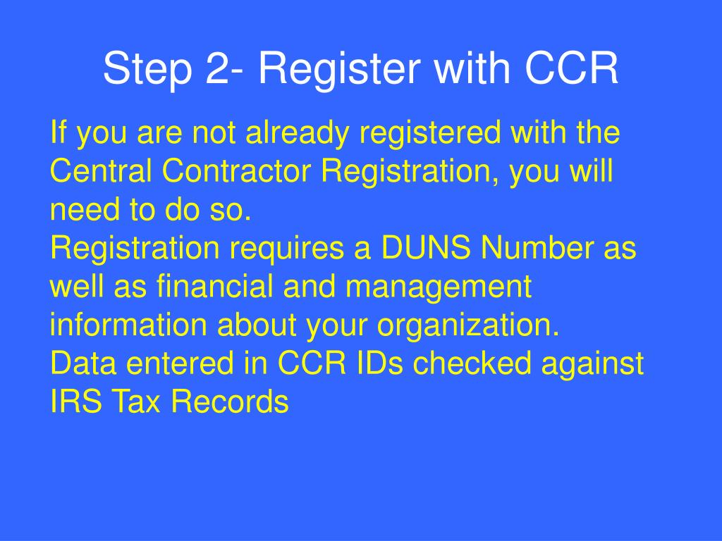 Step 2- Register with CCR
