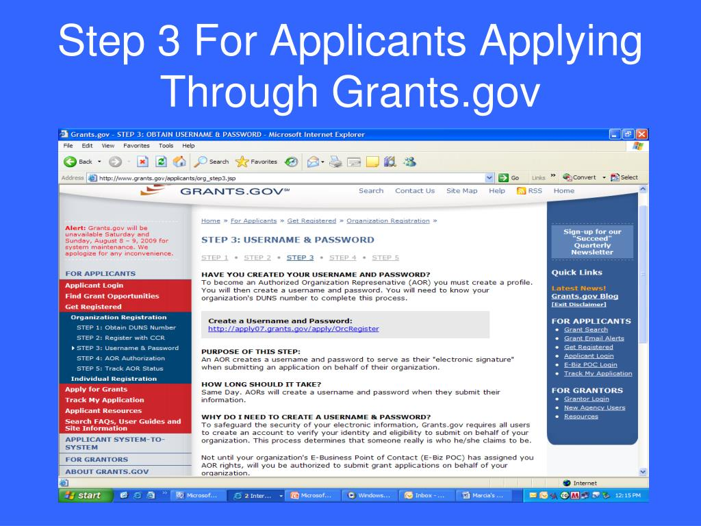 Step 3 For Applicants Applying Through Grants.gov