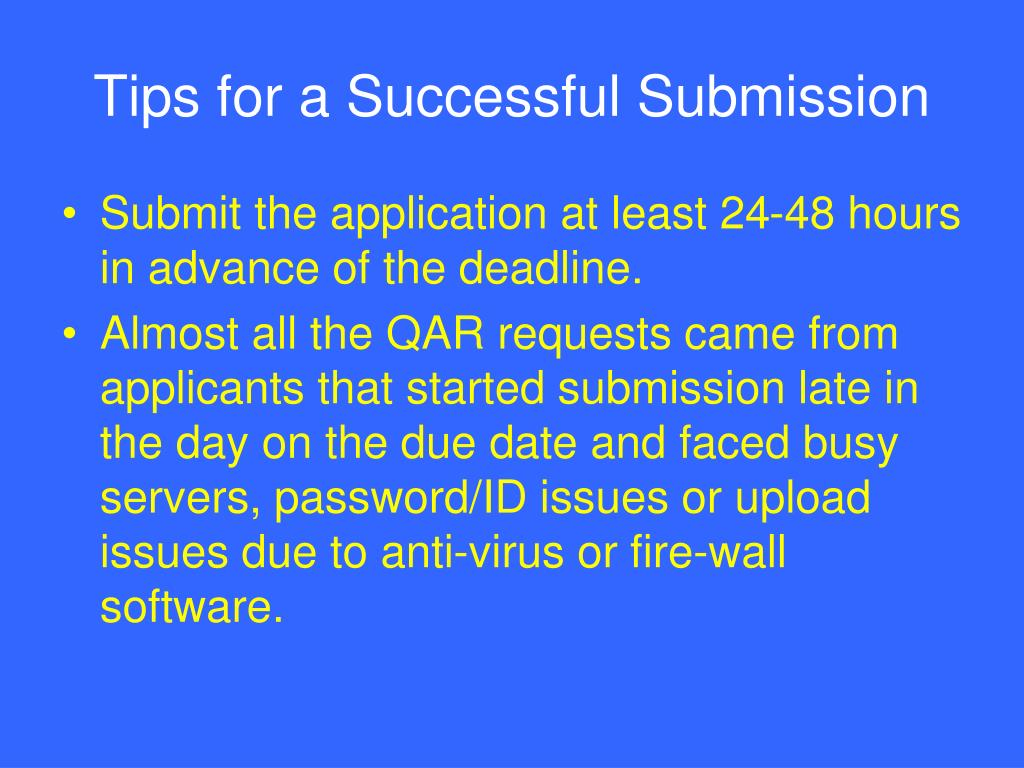 Tips for a Successful Submission