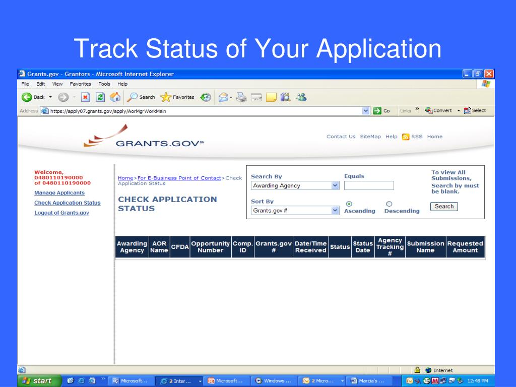 Track Status of Your Application