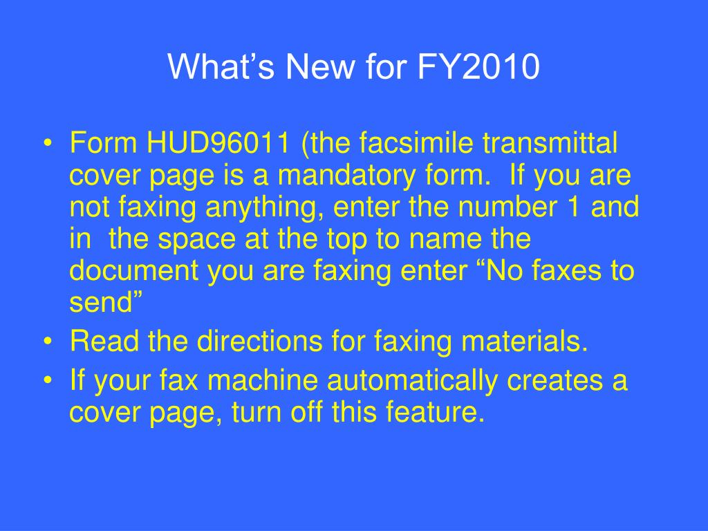 What's New for FY2010